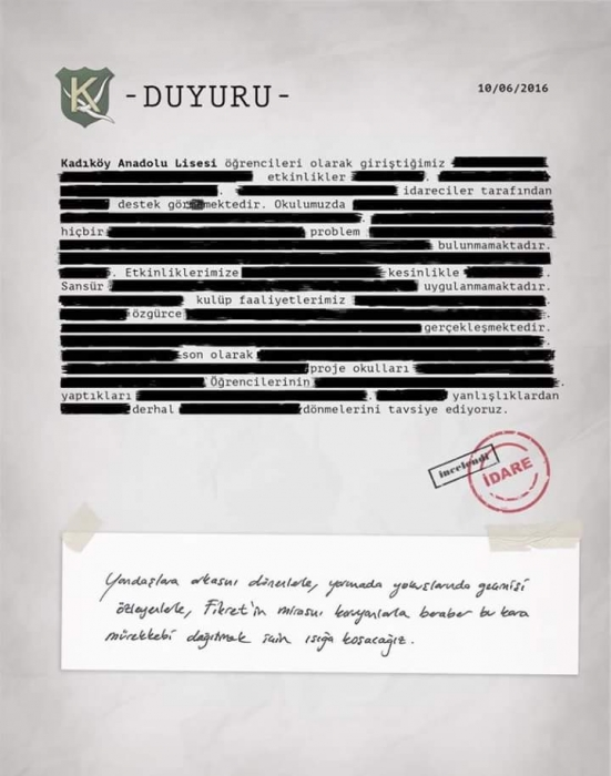 Kadıköy Anadolu öğrencilerinden 'sansürlü' bildiri