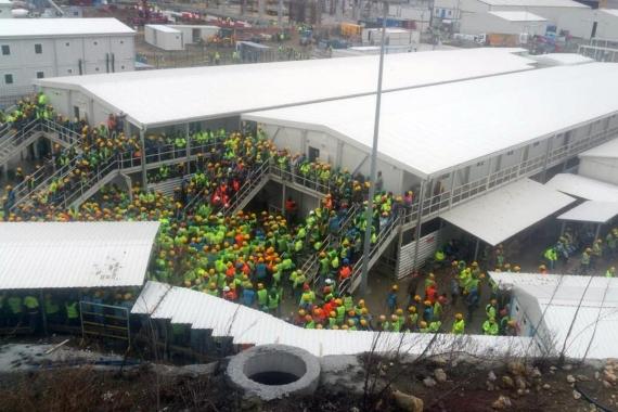 Başakşehir Şehir Hastanesi inşaatında kötü yemeğe isyan