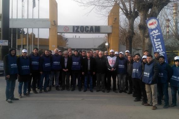 EMEP'ten grevdeki İzocam işçilerine dayanışma ziyareti