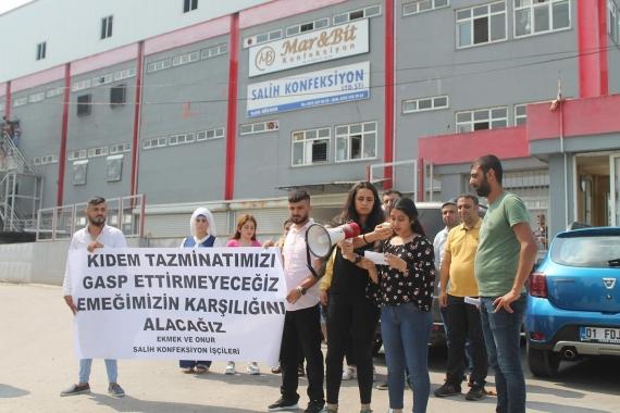 Adana Salih Tekstil işçileri alacaklarını istiyor