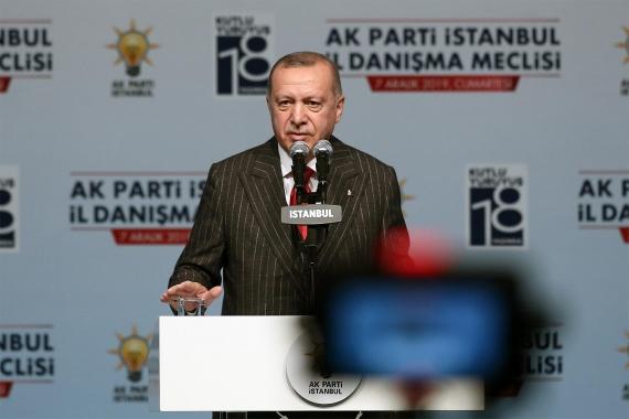AKP Genel Başkanı Tayyip Erdoğan, partisinin İstanbul İl Başkanlığı Genişletilmiş İl Danışma Meclisi Toplantısı'nda konuşurken