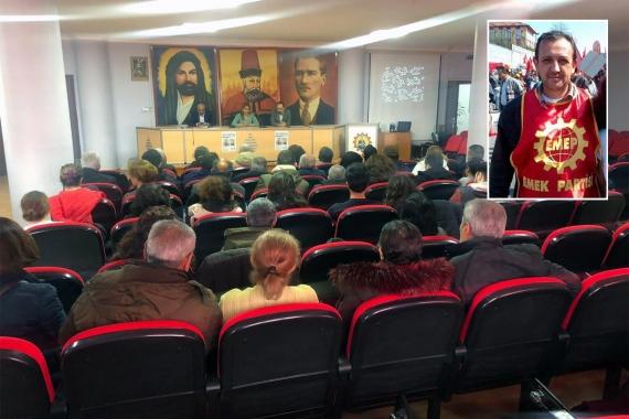 Sedat Yeşilköy için düzenlenen anma etkinliği ve Sedat Yeşilköy'ün mitingde EMEP önlüğü ile çekilmiş fotoğrafı