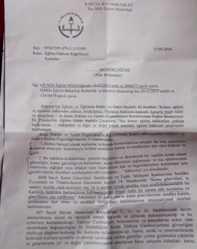 Kartal'da  öğretmenleri fişleme talimatı ortaya çıktı: 'Sendikal sınır'ları aşanlara fişleme