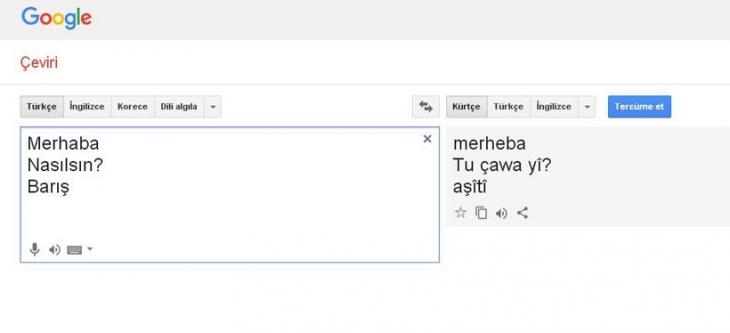 Google'da Kürtçe çeviri başladı