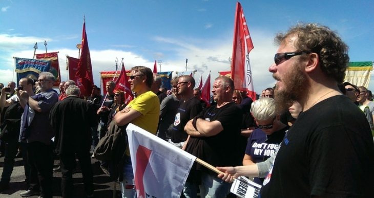 Oslo'da liman işçilerine destek eylemi yapıldı
