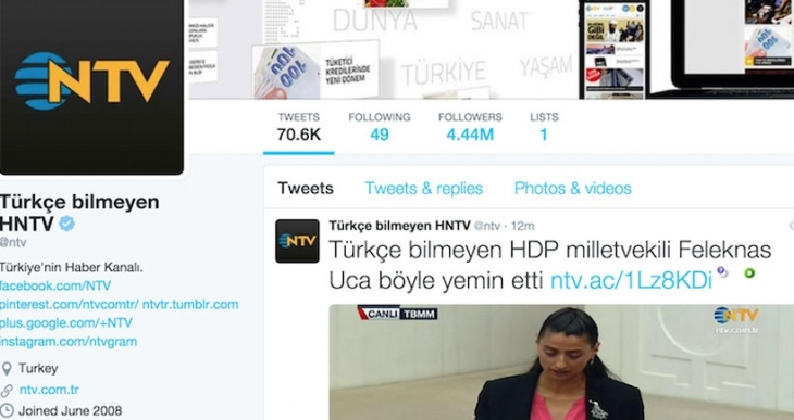 NTV'nin 'Türkçe bilmeyen Feleknas Uca' tweeti 'hacklendi'