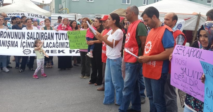 SeraPool'da kadın işçiye uygulanan şiddet protesto edildi