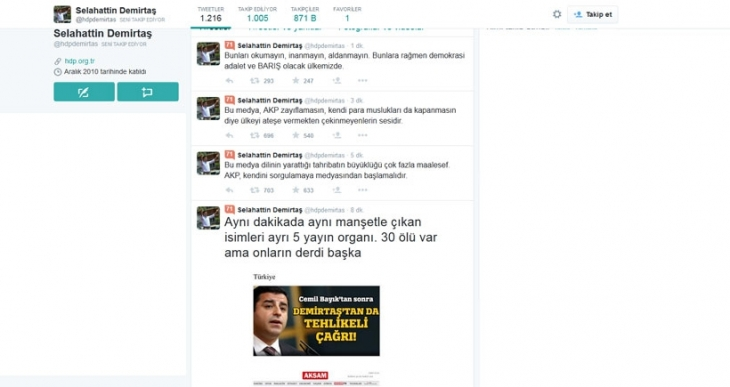 Demirtaş: 30 ölü var ama onların derdi AKP zayıflamasın!