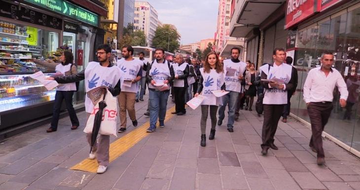 Ankara Barış Bloku 10 Ekim Mitingine çağrı bildirisi dağıttı