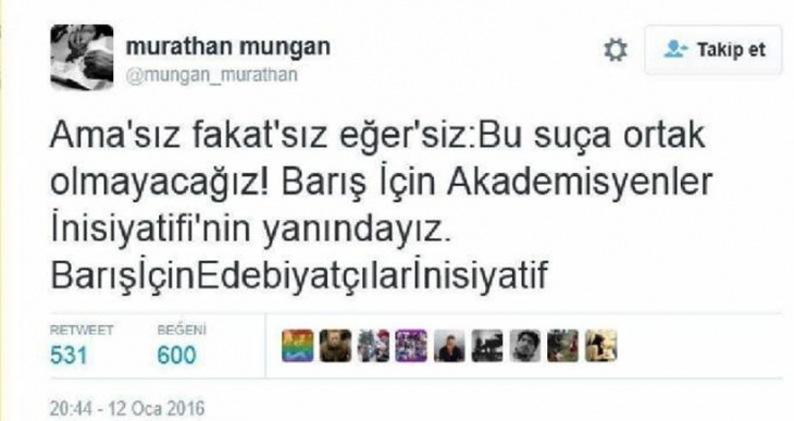 Murathan Mungan: Bu suça ortak olmayacağız