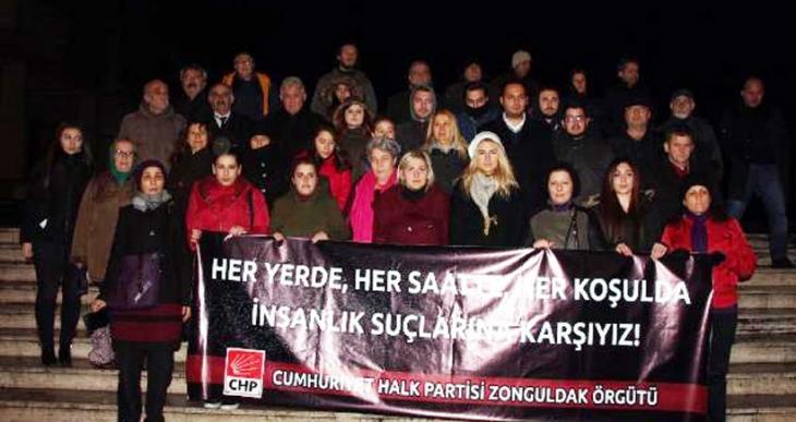 Zonguldak'ta CHP'lilerden saat 03:00'te tecavüz protestosu