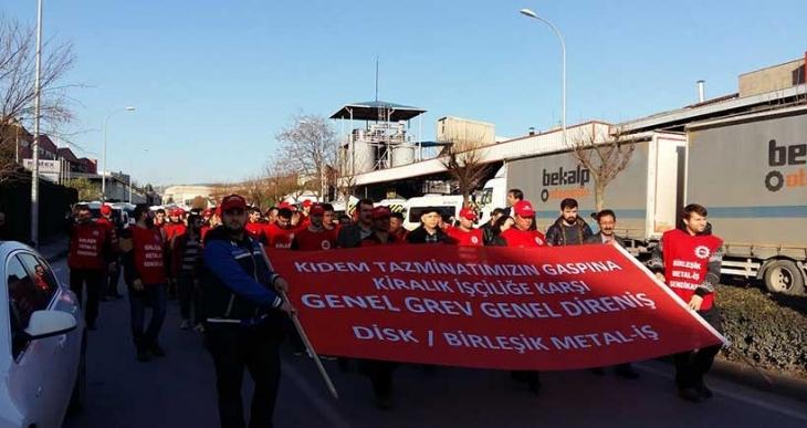 Birleşik Metal İş, Bursa'da kıdem tazminatı ve kiralık işçilik için yürüdü