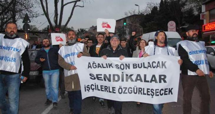 Şişecam işçileri Kristal- İş Sendikası'nı protesto etti