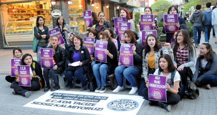 Eskişehir'de kadınlar, işyerinde tacizi protesto etti