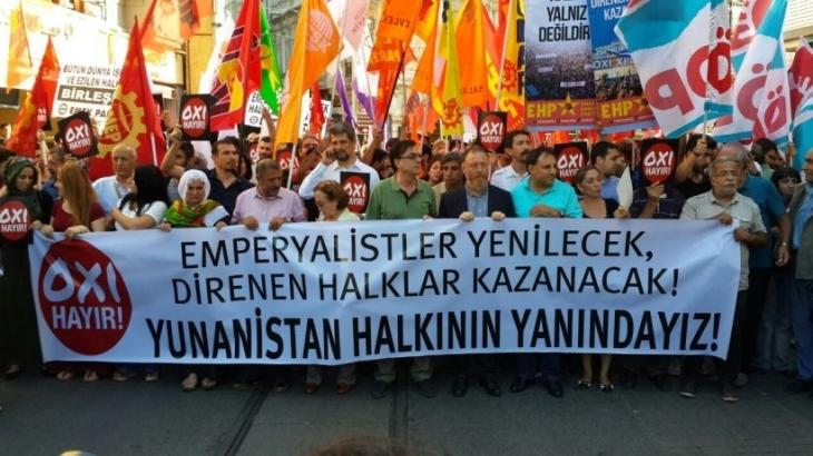 Emek ve demokrasi güçlerinden Yunanistan halkına destek eylemi