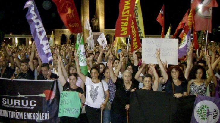 Didim'de Suruç Katliamı protestosu