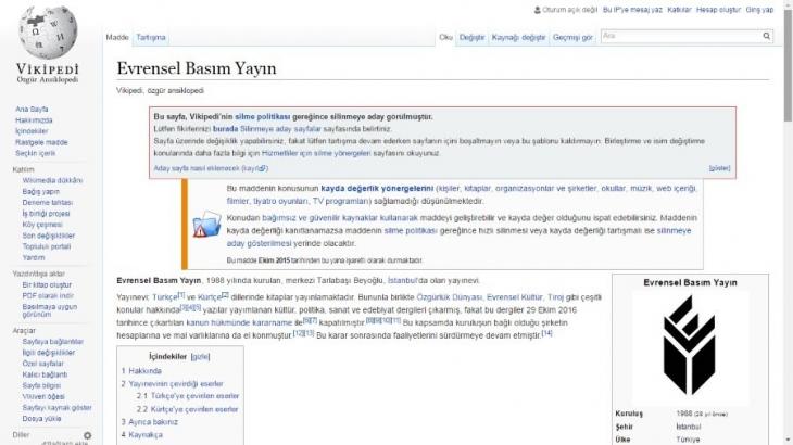 Evrensel Basım Yayın'ı Vikipedi'den silme girişimi