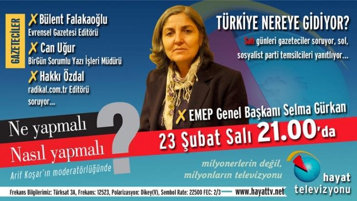 Selma Gürkan bu akşam Hayat Televizyonu'nda...