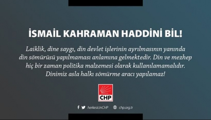 CHP'den 'laiklik olmamalı' diyen TBMM başkanına yanıt