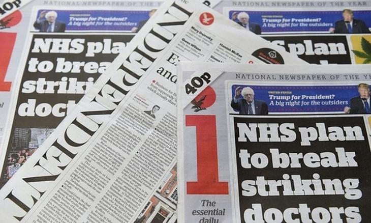 The Independent basılı yayınına son veriyor