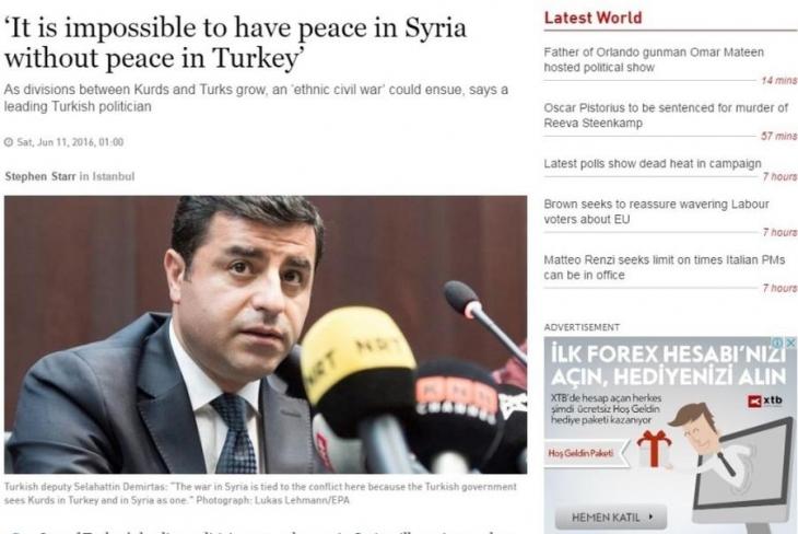 Demirtaş: Türkiye'de barış olmadan Suriye'de barış olamaz