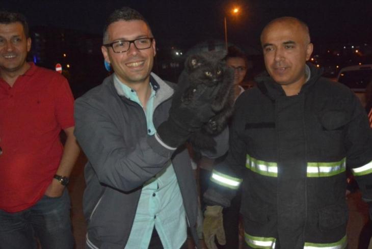Otomobilin motor bölümüne sıkışan kedi 3 saatte kurtarıldı