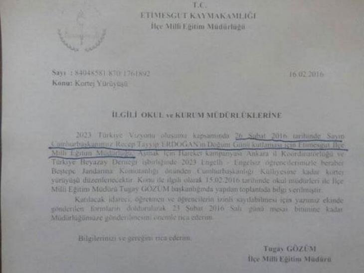 Etimesgut İlçe Milli Eğitim Müdürlüğü'nden Erdoğan'ın doğum gününde resmi tatil