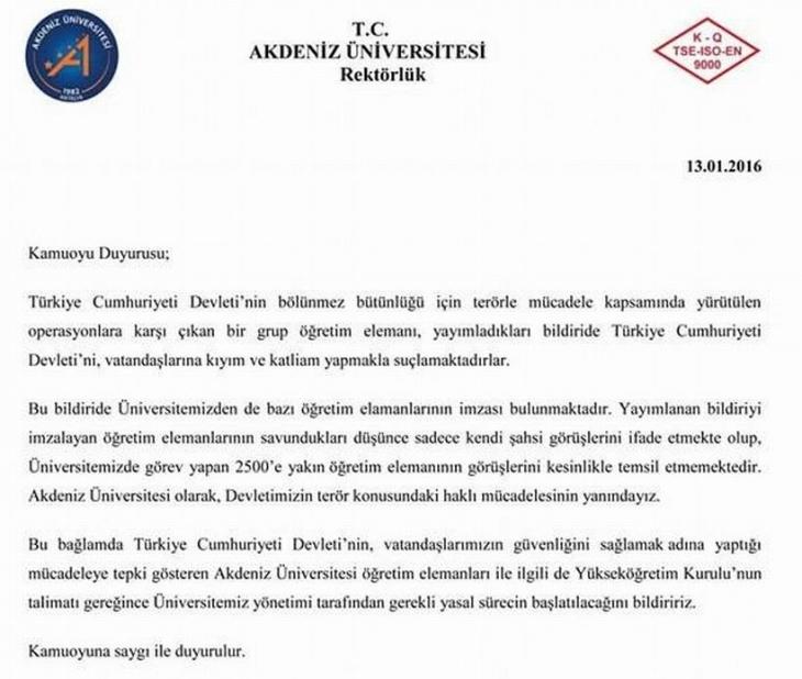 Barış talebine bir soruşturma da Akdeniz Üniversitesi'nden