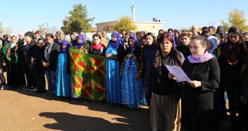 Direnişteki YPJ'li kadınlara destek