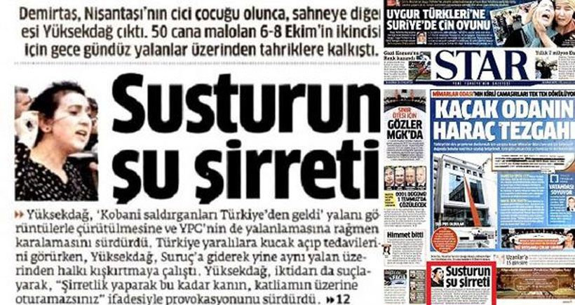 Gazetecilerden Star'ın Figen Yüksekdağ'ı hedef göstermesine tepki
