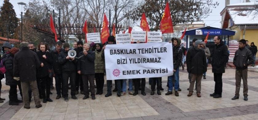 EMEP yöneticisine tehdit Sincan'da protesto edildi