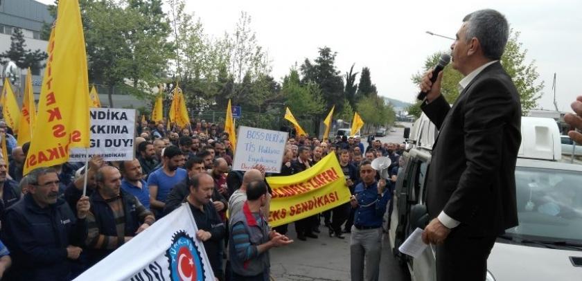 Deri işçileri hak gasbına karşı 1 saat iş bıraktı