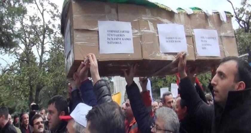 Samsun'da taşeron işçilerinden tabutlu eylem