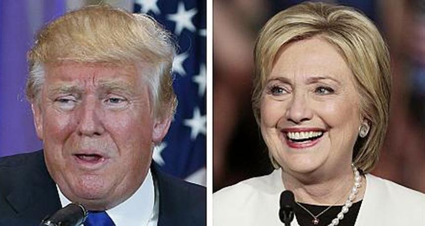 Clinton  ve Trump önde gidiyor