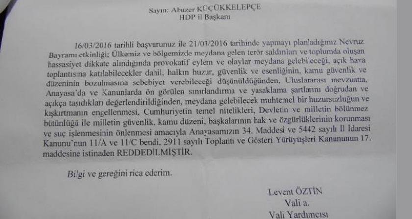 Adıyaman Valiliğine göre Newroz'u yasaklamak uluslararası mevzuata uygunmuş!