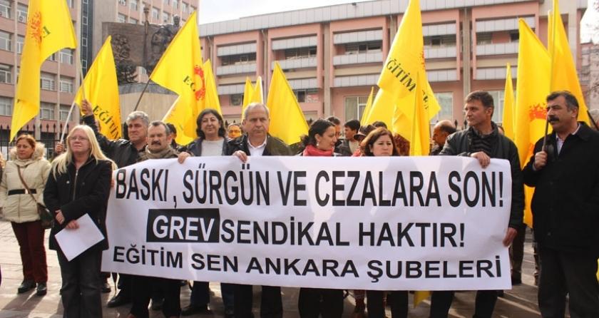 Eğitim Sen'den Bakanlık önünde tepki: Baskı, sürgün ve cezalara son verilsin