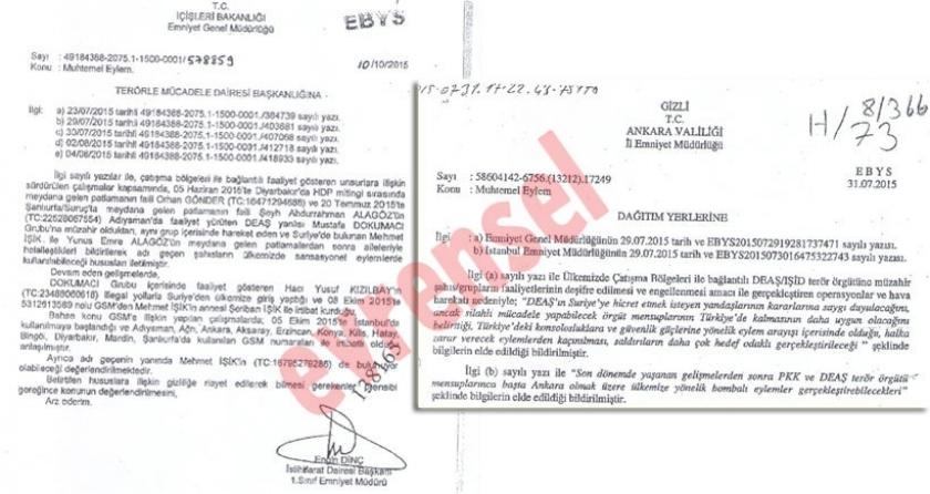Emniyetin 10 Ekim öncesi istihbarat aldığı ortaya çıktı
