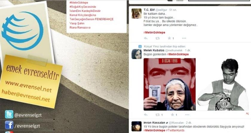 Metin Göktepe, Twitter'da en çok konuşanlar listesinde