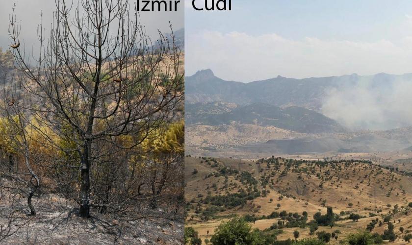 Cudi'den İzmir'e yangın kardeşliği…