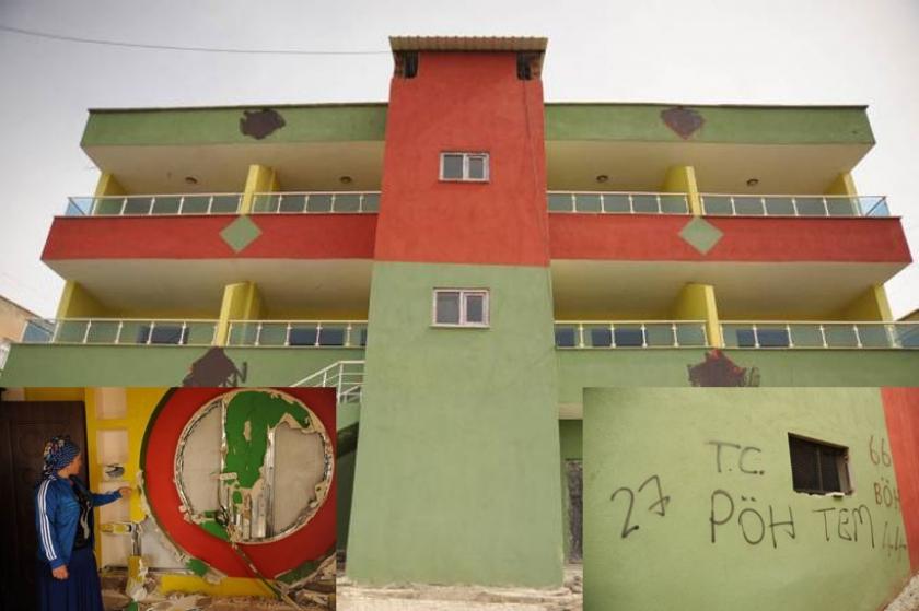 Siirt'e polis evini sarı kırmızı yeşil boyatan vatandaşın evini tahrip etti yazılama yaptı