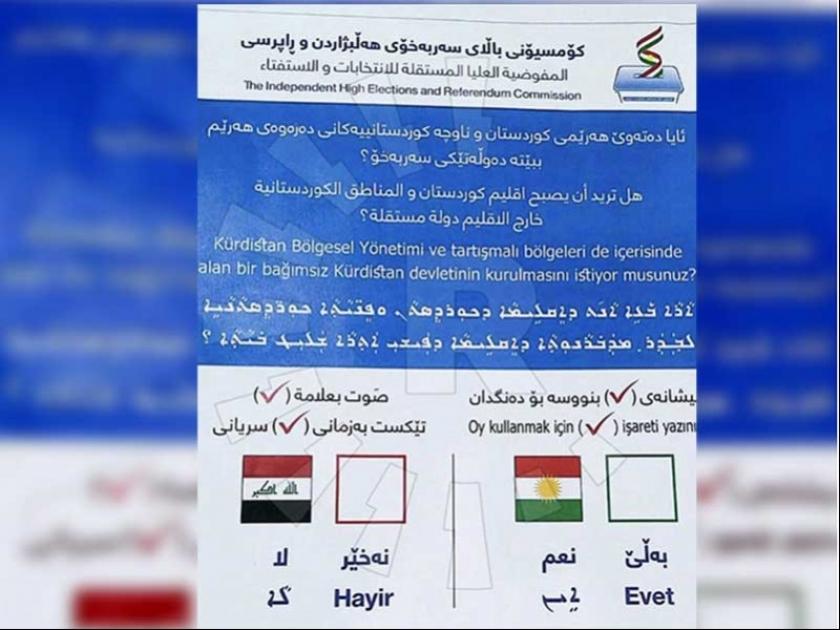 Irak'taki referandum için 3 dilli oy pusulası basıldı
