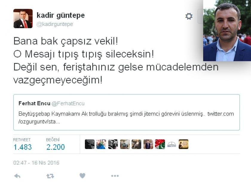Encü'den Kaymakama cevap: AKP ilçe başkanlığına da gelmiş!