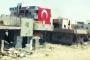 Nusaybin'de yıkılan eve dev bayrak asıldı!