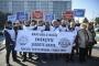 Şiddete uğrayan zabıta personeli için İBB önünde eylem