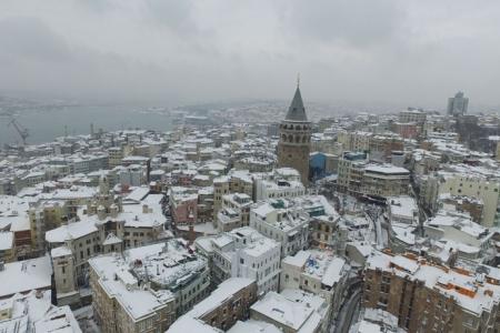 Havadan fotoğraflarla İstanbul'da kar