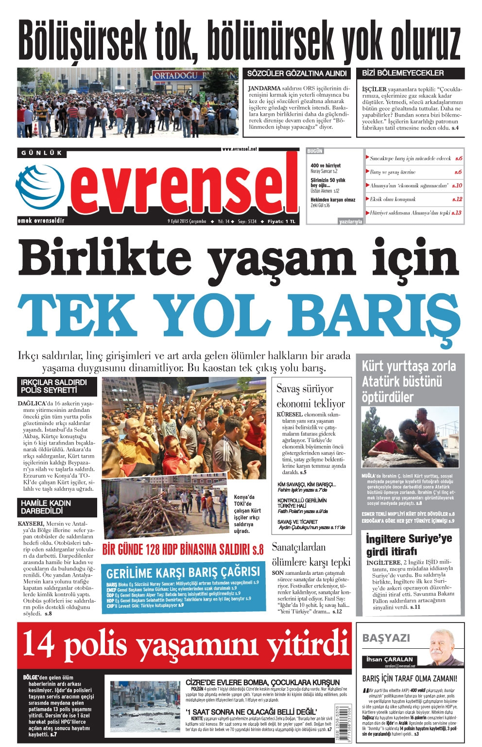 Evrensel Gazetesi Birinci Sayfası
