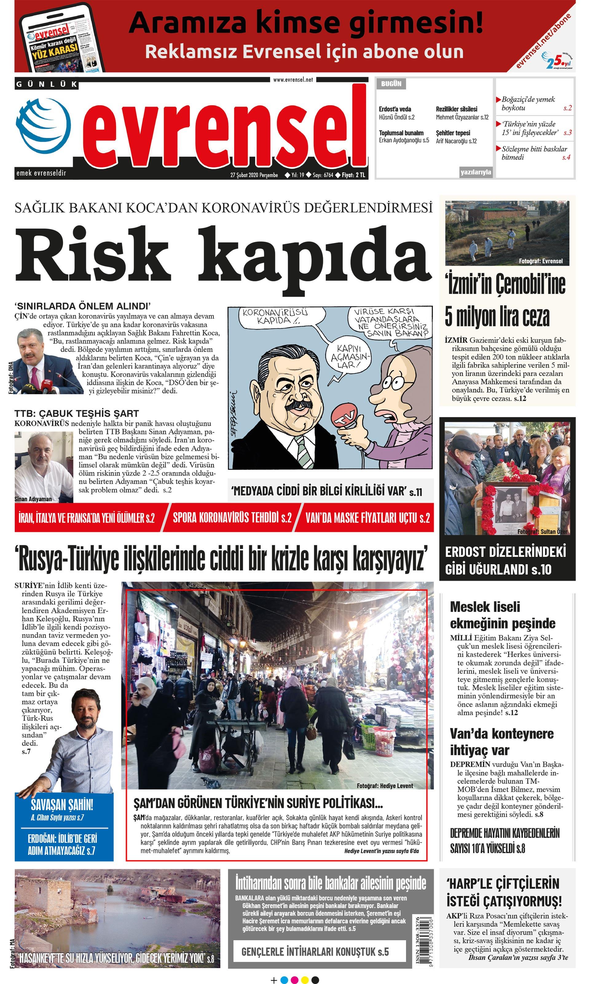 Evrensel Gazetesi Birinci Sayfa